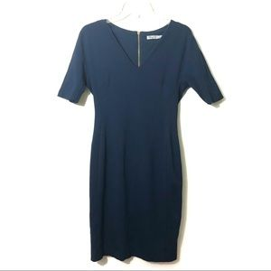 Eliza J Navy blue sheath dress exposed zipper
